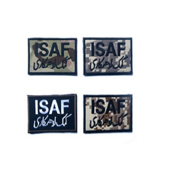 100 piece a lot 3D Embroidery armband ISAF patch Loop And Hook ISAF International Security Assistance in Afghanistan patch